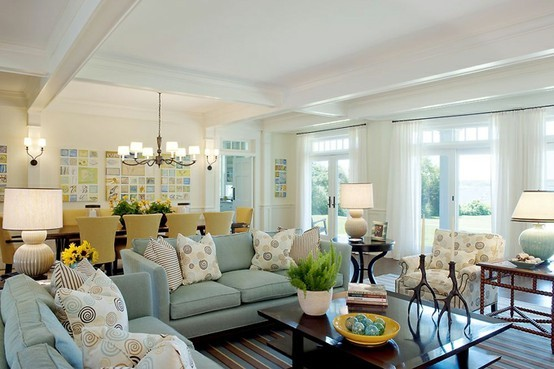Some Yellow Accents In This Living Dining Room Add A Touch Of Sunshine And Warmth To The Otherwise Cool Blue White Color Scheme