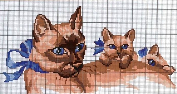 Кошка с котенком вышивка крестом