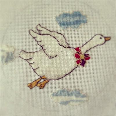 cross stitch flying goose
