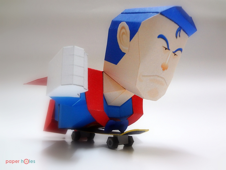 Suppaman Papercraft Flying on Skateboard