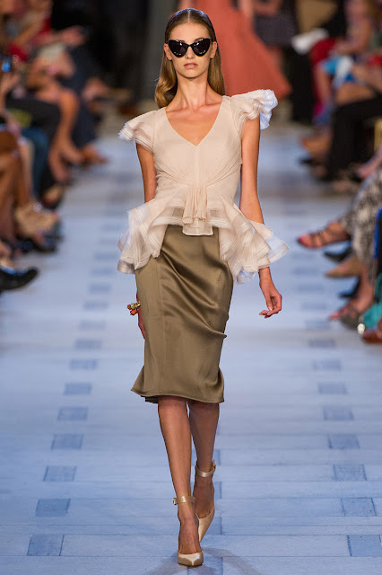 Zac Posen ruffled and frilled blouse with pencil skirt for S/S13