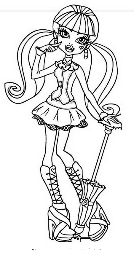Dibujo De Draculaura Para Colorear La Monster High Imprimir Y Pintar