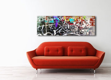 abstract, panoramic, canvas art, multi coloured, wall art, red, blue, yellow, orange, black, white, grey,