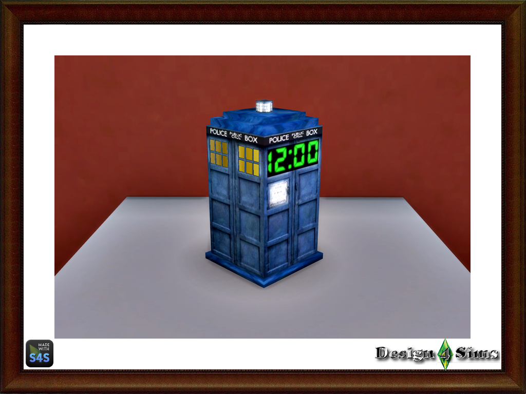 Doctor Who Tardis Clock, Lamp And Trash Bin By Design4Sims   Sims 4 Studio