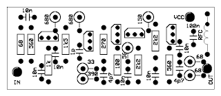 HF & VHF antenna amplifier without coils PCB