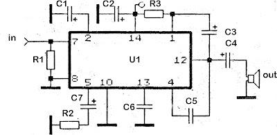 Rangkaian amplifier KA2203 , SN16975, TBA820, UL1482P