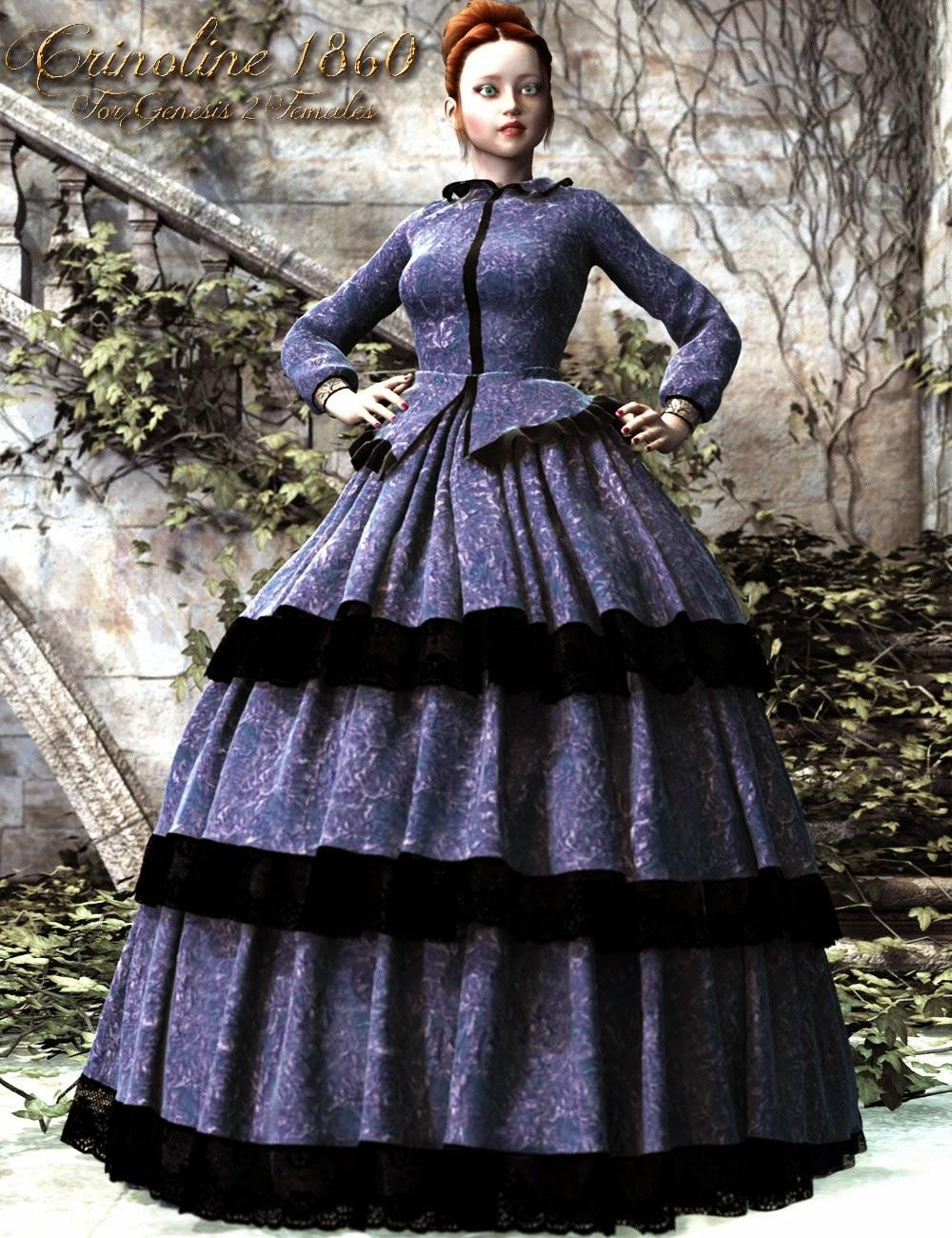 1860 Robe Crinoline pour Genesis 2 Femme