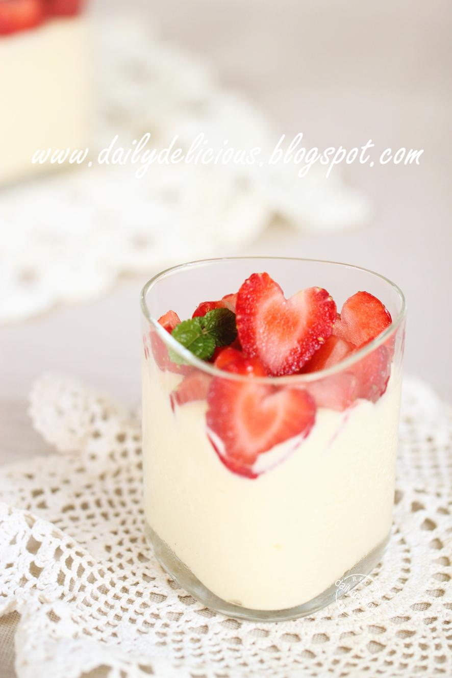 ... Chocolate Cups: Soft white chocolate mousse with fresh strawberry