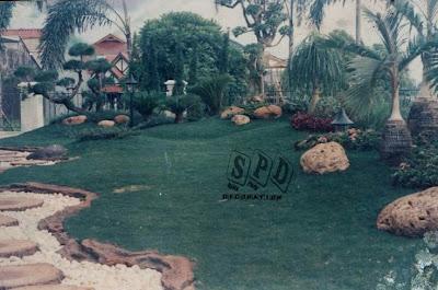 dekorasi taman majalengka, taman air terjun, penataan taman rumput