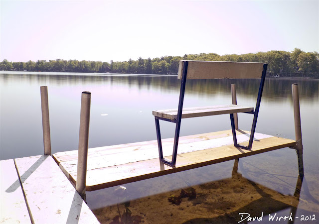 homemade nd filter, water, sky polarized dock bench