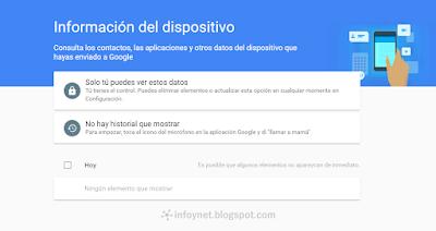 Información del dispositivo en Google
