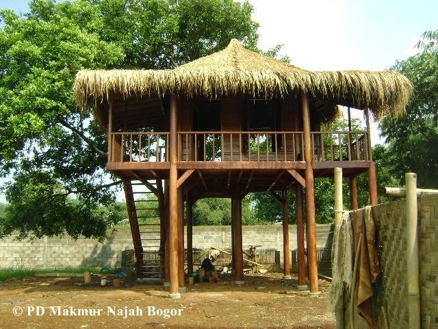 rumah kayu kelapa atap ijuk alang alang rumbia