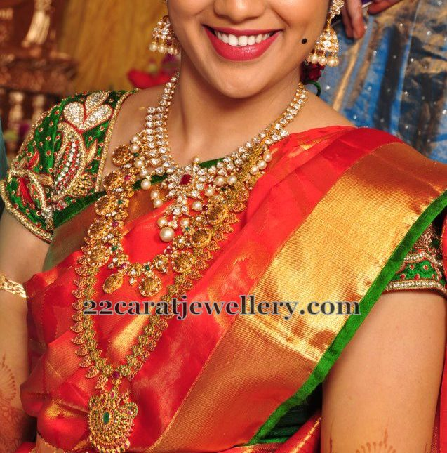 Bride in Gemstone Mango Mala Pachi Set