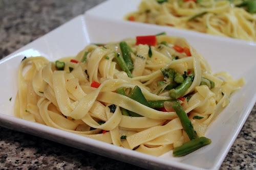 Pasta Primavera with Fresh Herbs and Garlic-Wine Sauce