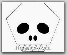 Bước 10: Vẽ mắt, mũi để hoàn thành cách xếp hình đầu lâu halloween bằng giấy theo phong cách origami.