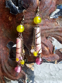 colorful assemblage earrings