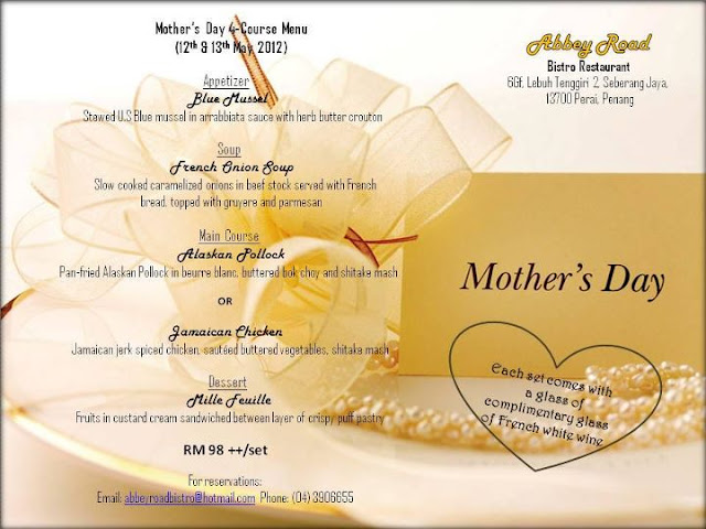547075 350883274971586 152079084852007 946828 1963393077 n Mothers day 4 Course Menu at Abbey Road Bistro Restaurant