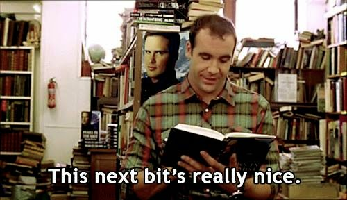 "Character reading a book, saying ""This next bit's really nice."""