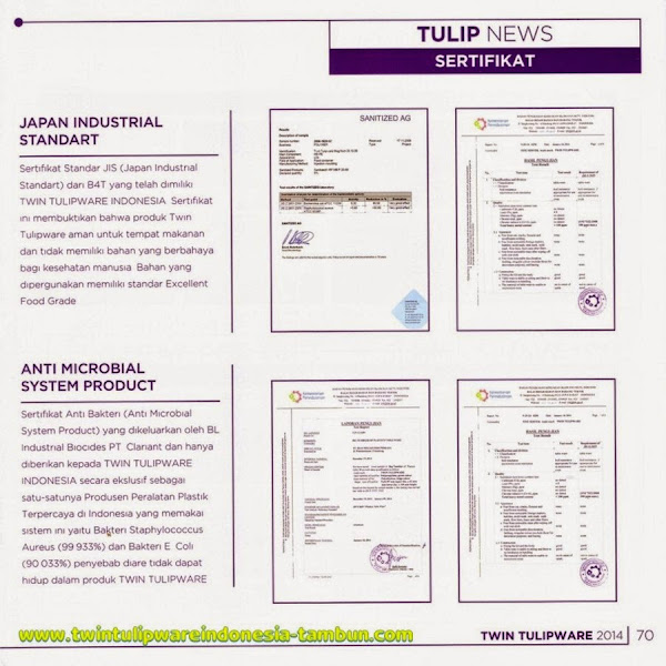 Sertifikat, Japan Industrial Standart, Anti Microbial System Product Tulipware 2014