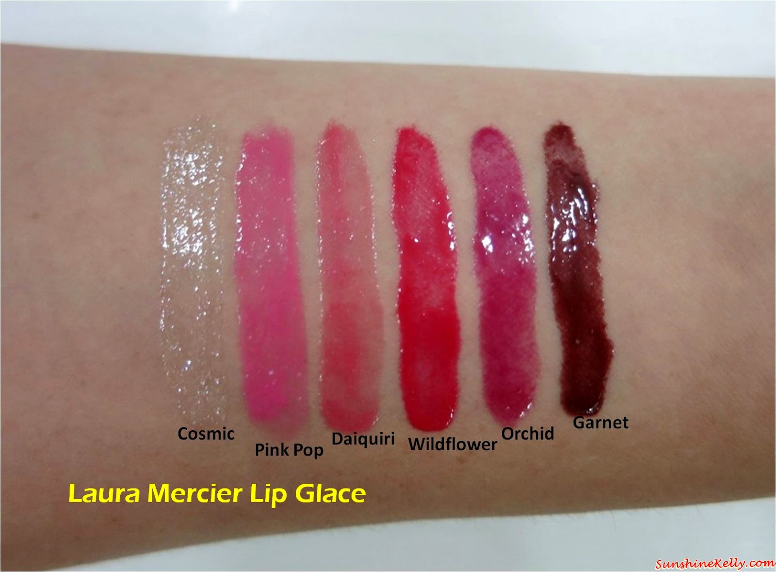 Laura Mercier Lip Glace Review, Laura Mercier, Lip Glace, Makeup Review, Lip Gloss, Cosmic, Pink Pop, Daiquiri, Wildflower, Orchid, Garnet