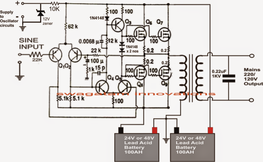 make this 1kva (1000 watts) pure sine wave inverter circuit, Circuit diagram