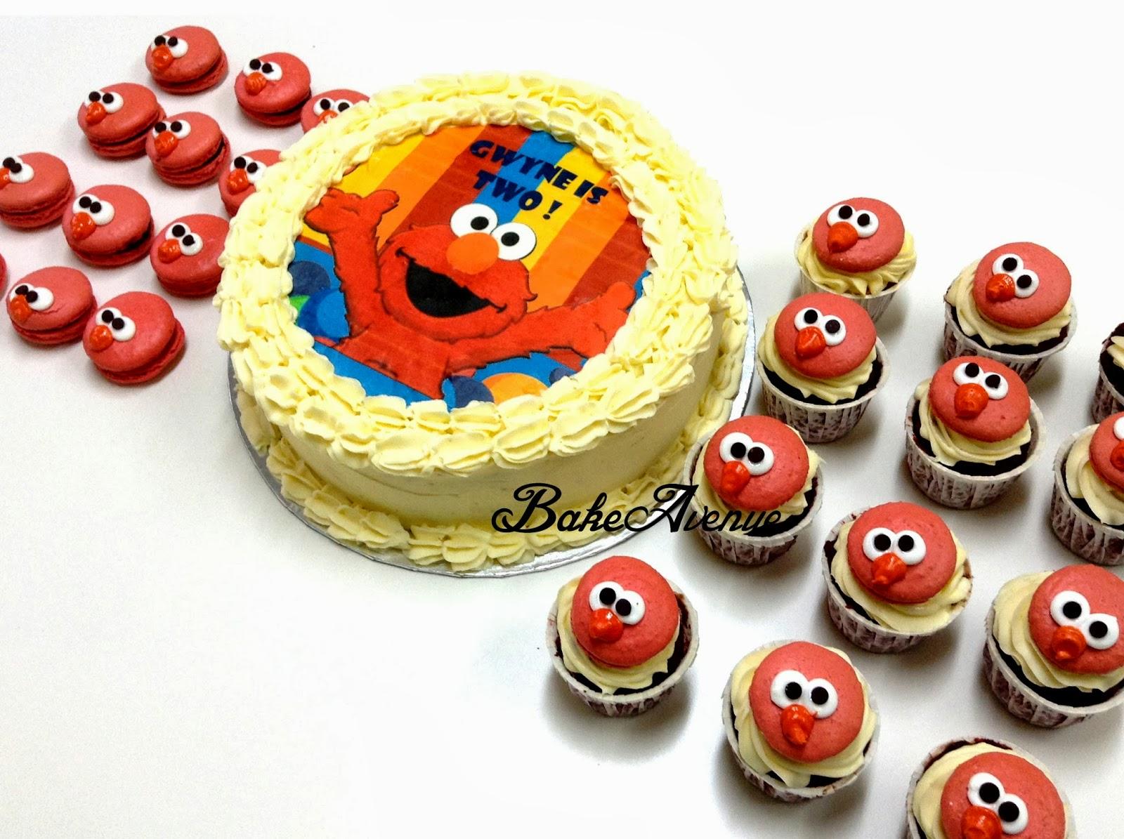 Elmo Theme Red Velvet Cake and macarons cupcakes