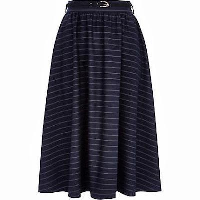 Navy stripe midi skirt