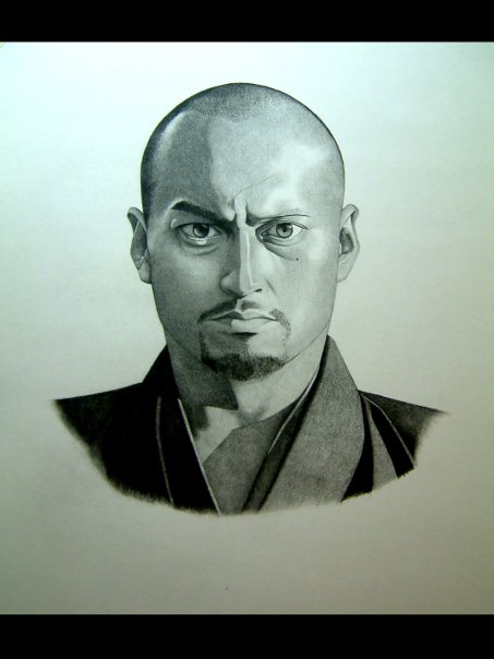 """Ken Watanabe"" Charcoal on grey tone paper. Fine Arts Heads & Hands 2009"