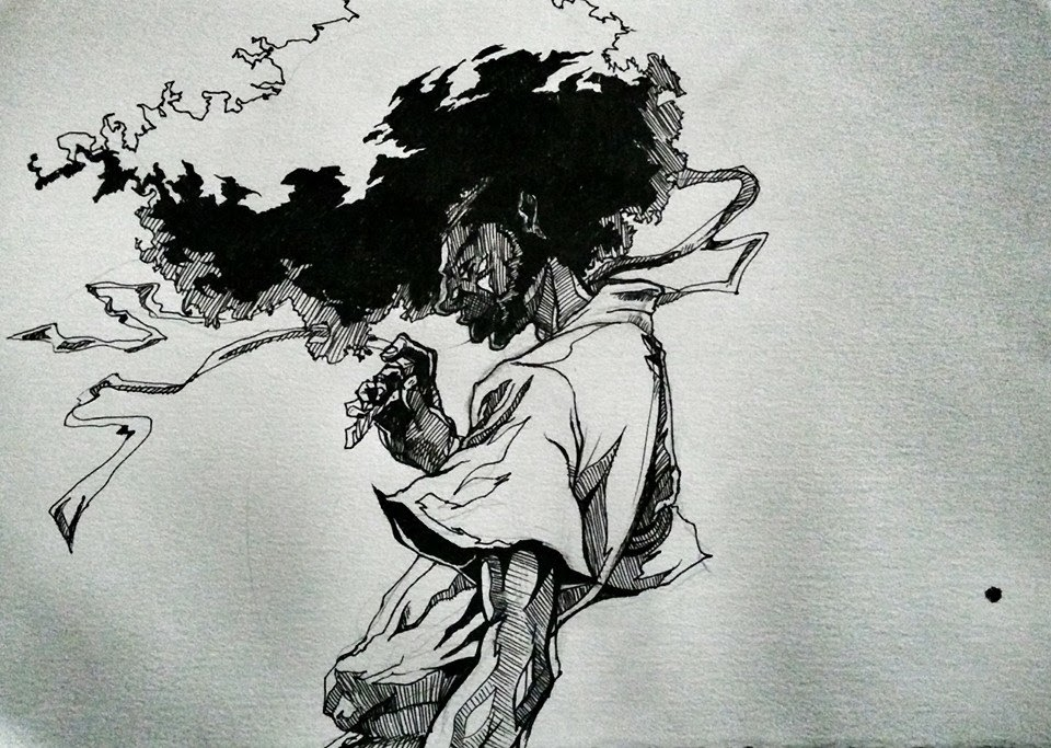 Afro Woman Drawing Pen Drawing of Afro Samurai
