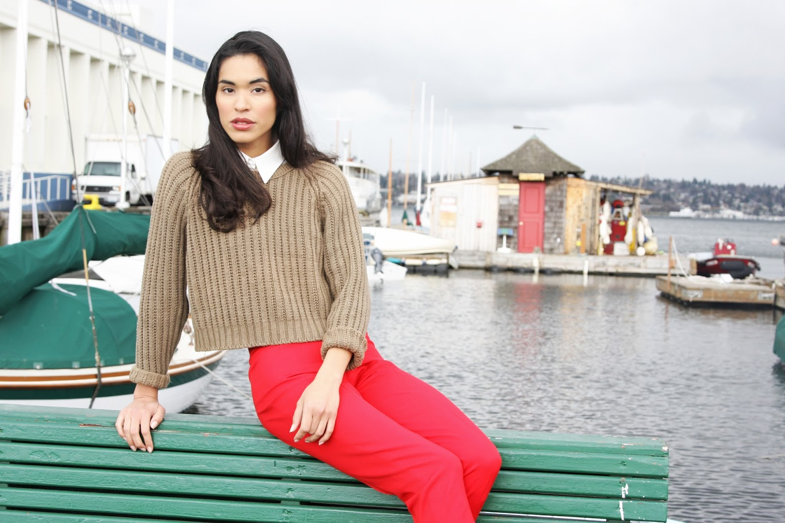 red, trousers, fall fashion, street style, cropped sweater, seattle, model, ashley chanel, outfit ideas