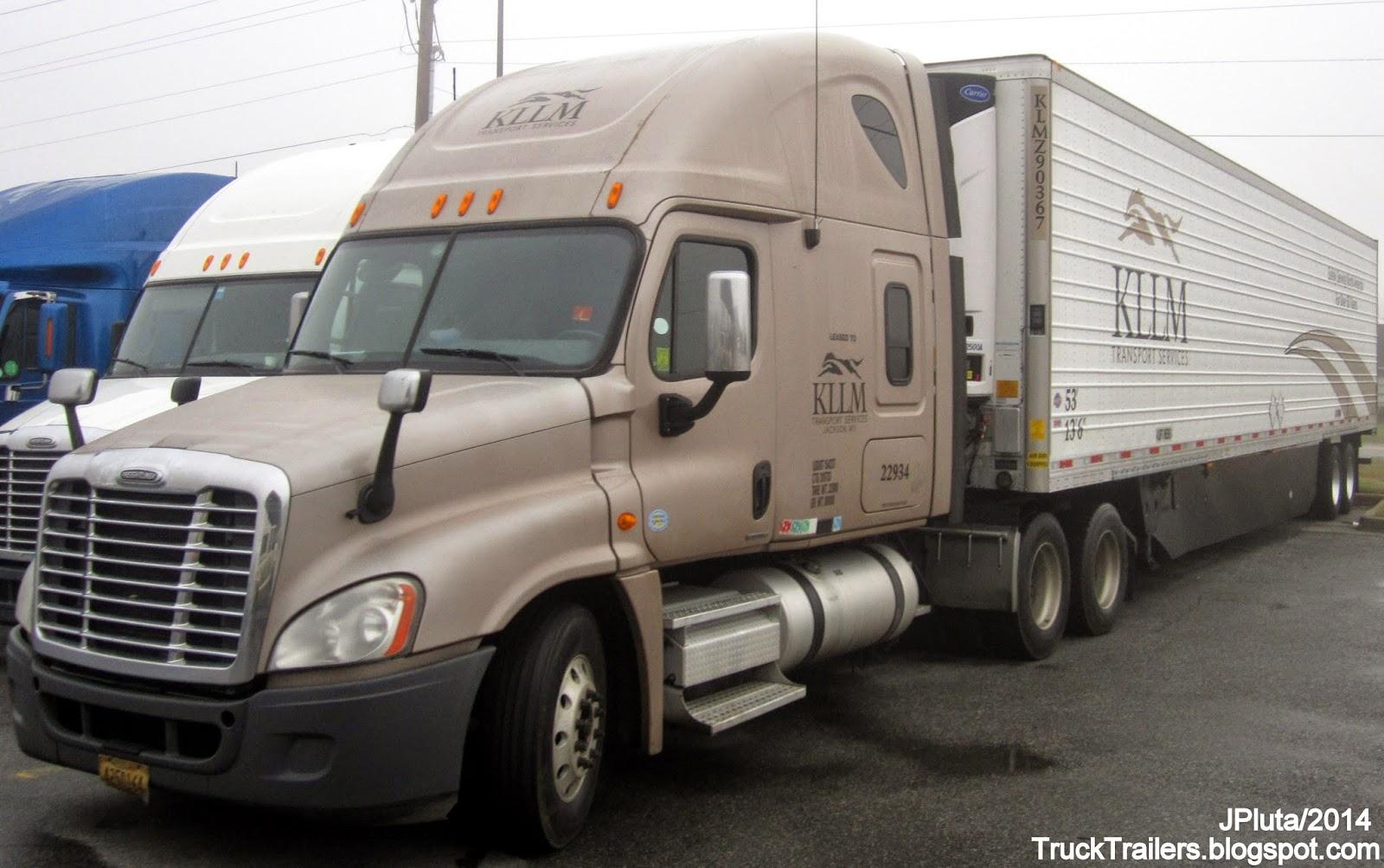 Kllm transport services jackson mississippi freightliner sleeper cab truck 22934 refrigerated 53 trailer kllm trucking company ms