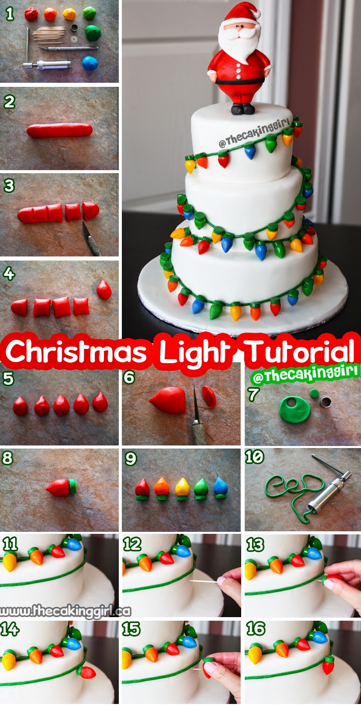 how to make fondant christmas lights cake tutorial