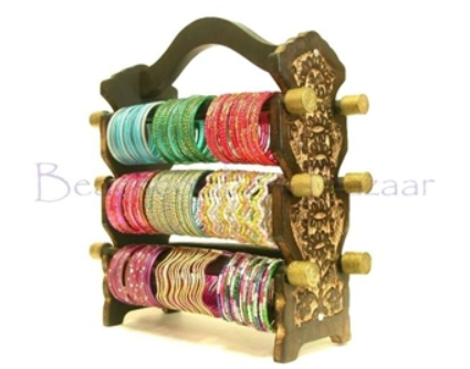 12 Indian Glass Bangle Sets and Bracelet Display Stand Gift Set