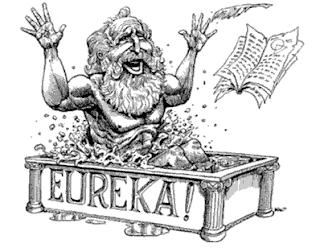 arquimedes na banheira com seus trabalhos científicos - EUREKA!