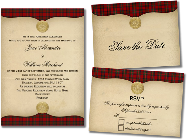 Vintage Royal Stewart Tartan Plaid Wedding Invitations