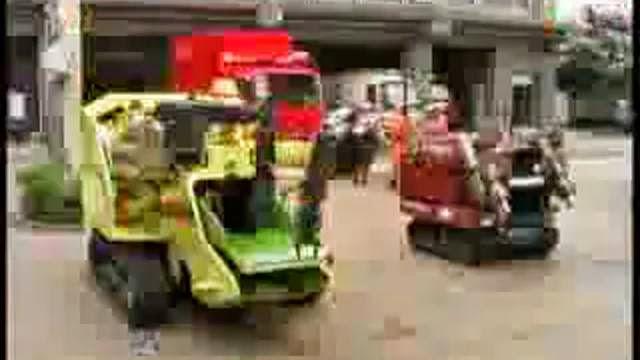 Robots broyeur de corp humain, nettoyer les rues des morts
