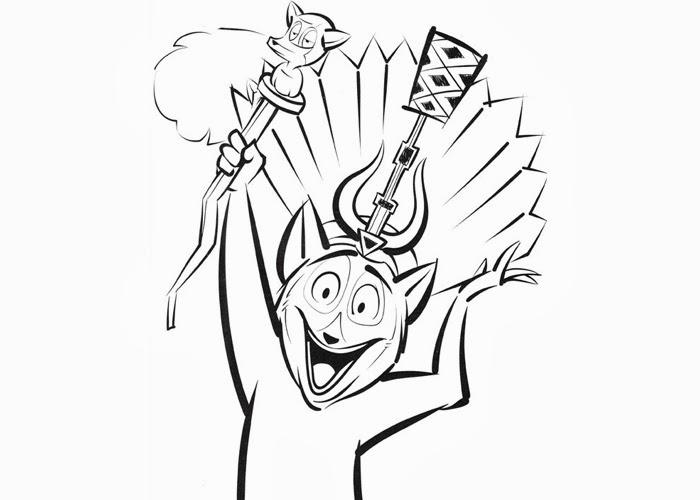king julien madagascar coloring page