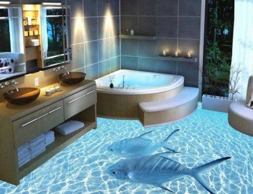 3D Floor Style On Bathroom 4