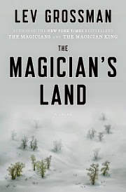 Cover art for The Magician's Land, featuring a multitude of tiny trees within an otherwise barren, snowy landscape. The trees become shrouded in mist as they move further from the viewer. They're the same sort as appeared on the cover for The Magicians.