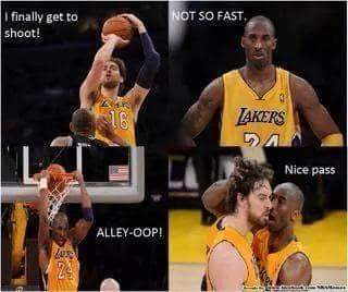 I finally get to shoot!. Not so fast. alley-oop!. Nice pass. - #nba, #Lakers, #KobeBryant #PauGasol