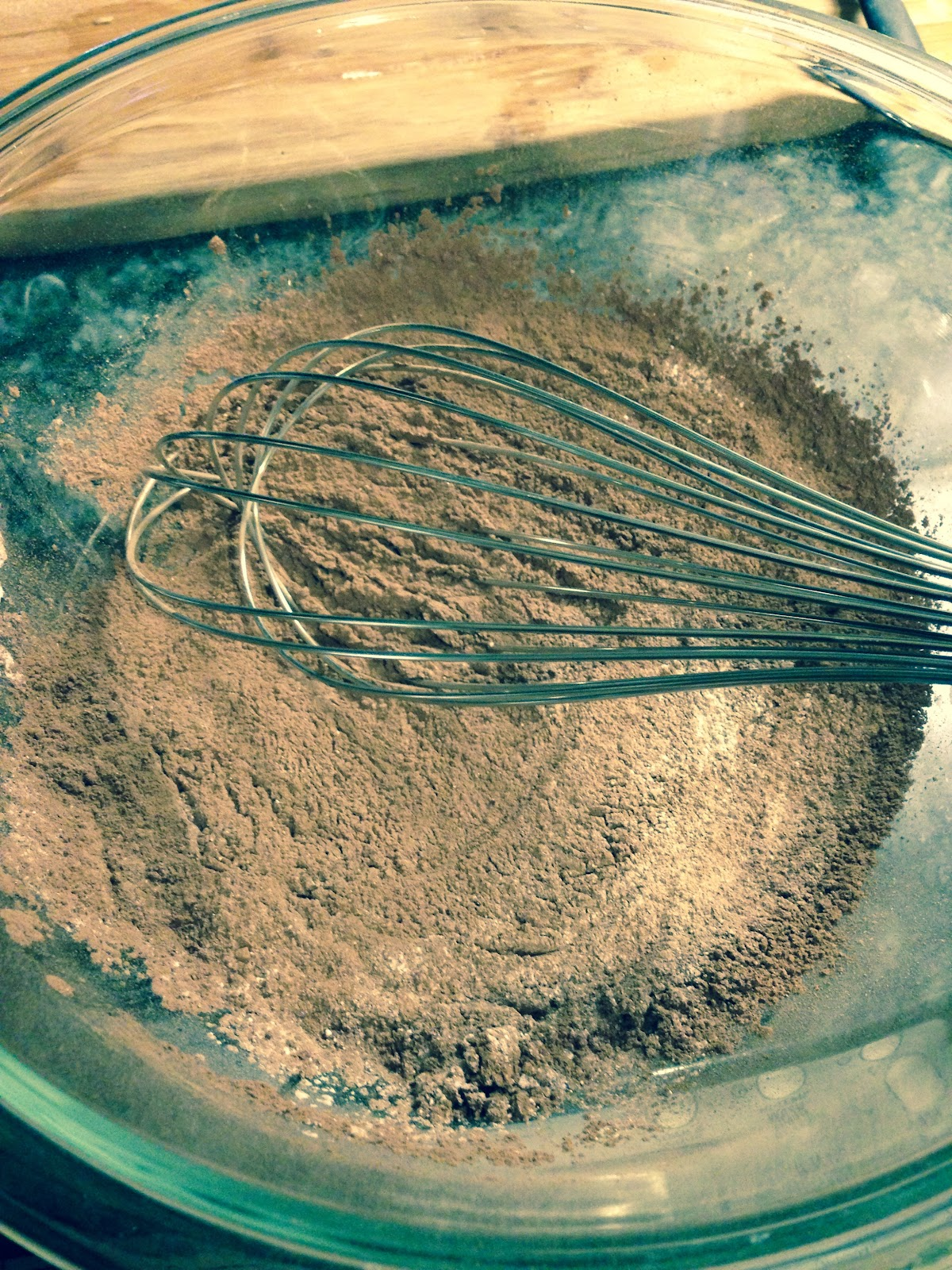 wisking dry ingredients in a bowl