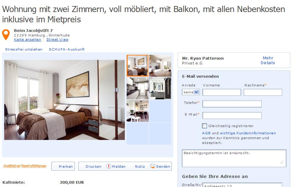 wohnung mit zwei zimmern voll m bliert mit balkon mit allen nebenkosten informationen ber. Black Bedroom Furniture Sets. Home Design Ideas