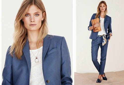 moda mujer Massimo Dutti primavera verano 2014 traje americana pantalón azulón