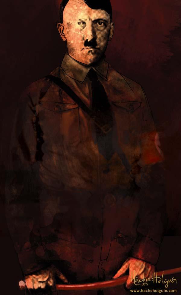 ilustración La fusta de Hitler, retrato de Hitler