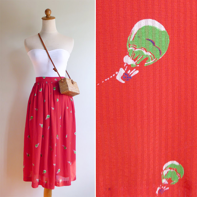 vintage red hot air balloon skirt
