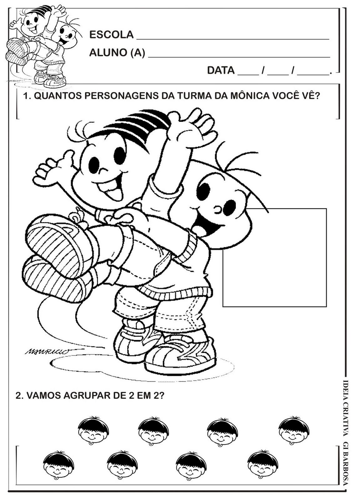 Preferência Matemática Infantil: Atividade Numeral 2 e Agrupamentos Turma da  GD57