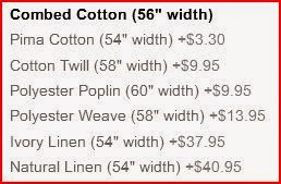 zazzle fabric options with width and price upgrade