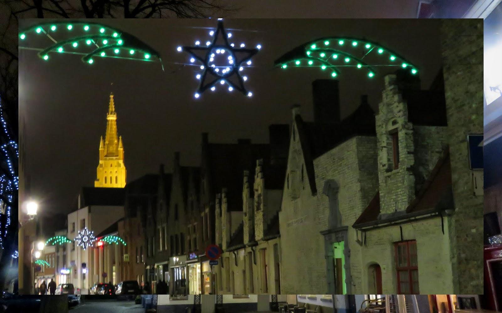 Christmas lights in Bruges, Belgium