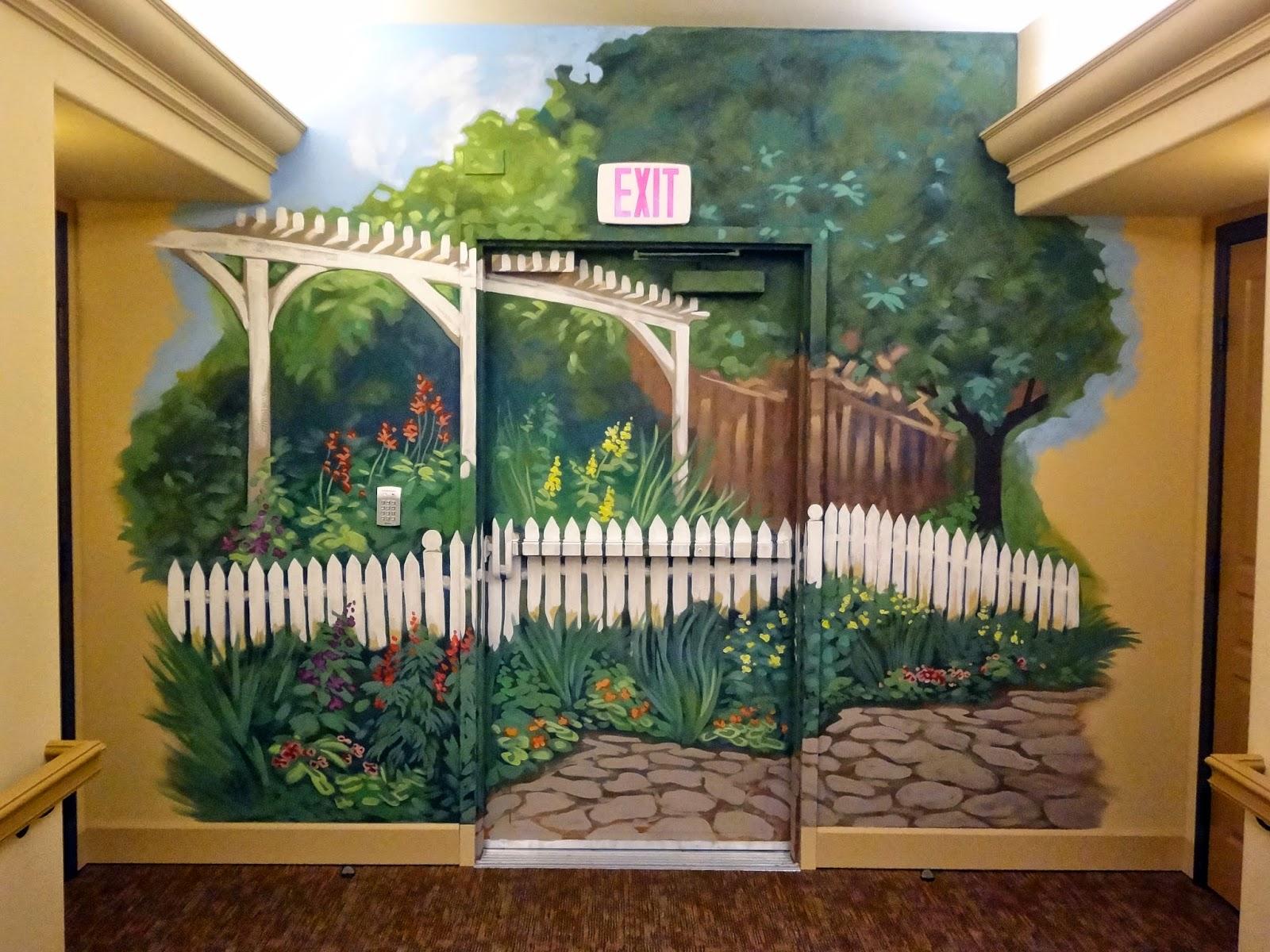 garden mural, white fence garden mural, portland oregon muralist