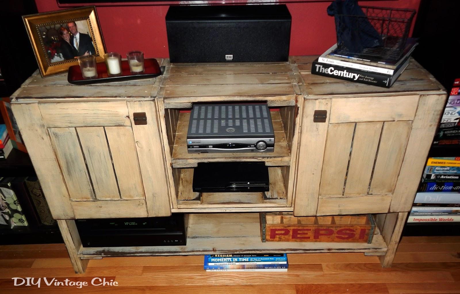 Diy vintage chic rustic tv console plans for Diy tv table plans
